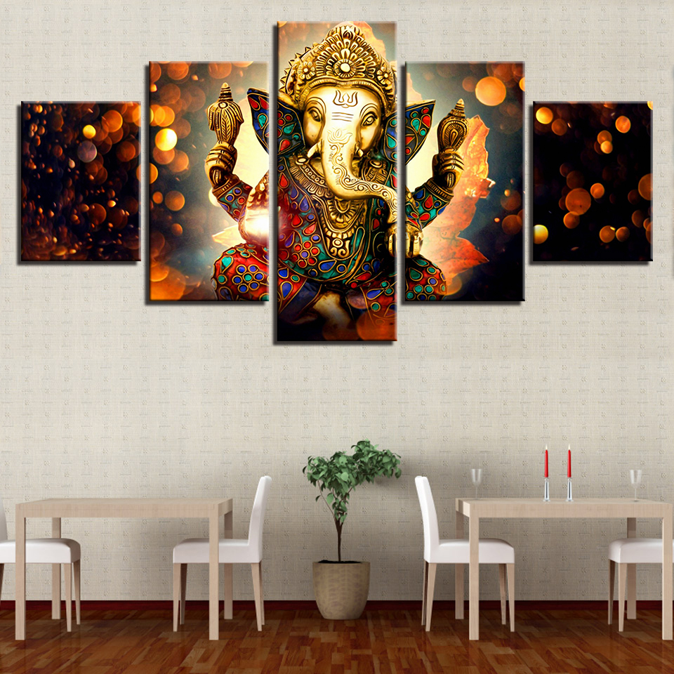 Art Posters Prints Painting 5 Panel Lord Ganesha Modular Canvas Wall Framework Elephant Pictures For Living Room Home Decor