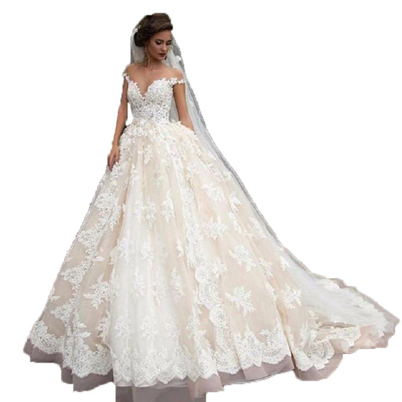 Champagne Wedding Gowns With Sleeves: Sexy Lace Ball Gown Wedding Dresses Champagne With Sleeves