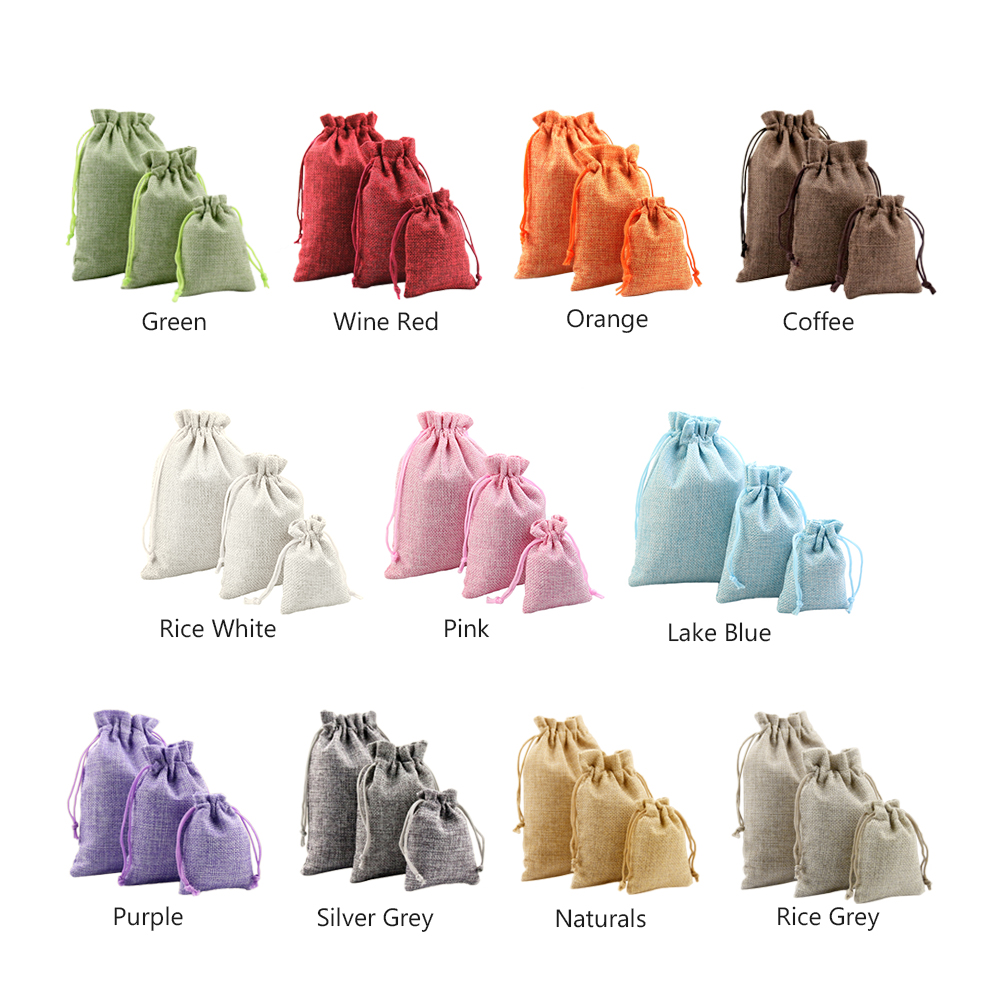5pieces Christmas Linen Jute Drawstring Gift Bags Sacks Wedding Birthday Party Favors Drawstring Gift Bags Baby Shower Supplies