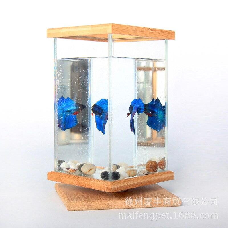 Mini bol à poisson sur la table créative poissons aquarium réservoir d'eau 360 degrés revolve carré boîte à poisson livraison directe - 2