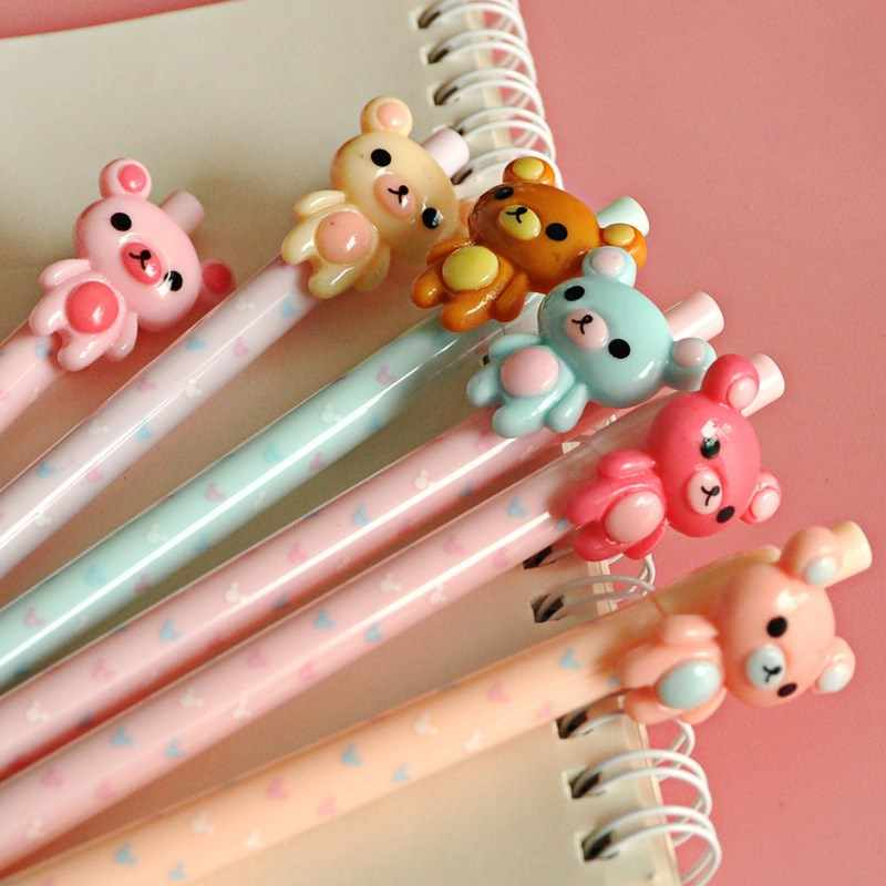0.5 Mm Mooie Beer Rilakkuma Plastic Vulpotlood Automatische Pen Voor Kid School Office Supply