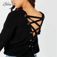 Women S Sexy Deep Plunge Backless Strapy Lace Up Sweater Knitted Jumper Long Sleeve Criss Cross