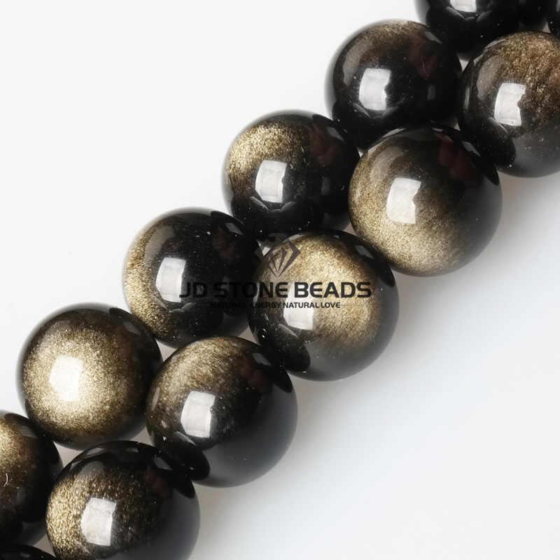 ナチュラルゴールド黒曜石宝石 4/6/8/10/12/14 ミリメートルピックサイズラウンドルース石の個人的なデザインのギフトアクセサリージュエリーメイキングのために