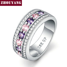 Fashion Cocktail Party Women Rings Silver Color Purple Crystals Bijoux Cubic Zirconia Ring jewelry Chirstmas Gift