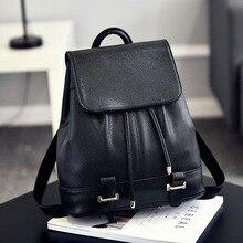 Женщины Рюкзак Винтажные кожаные рюкзаки 2017 черный рюкзак марка сумки на плечо для девочек-подростков школьная сумка
