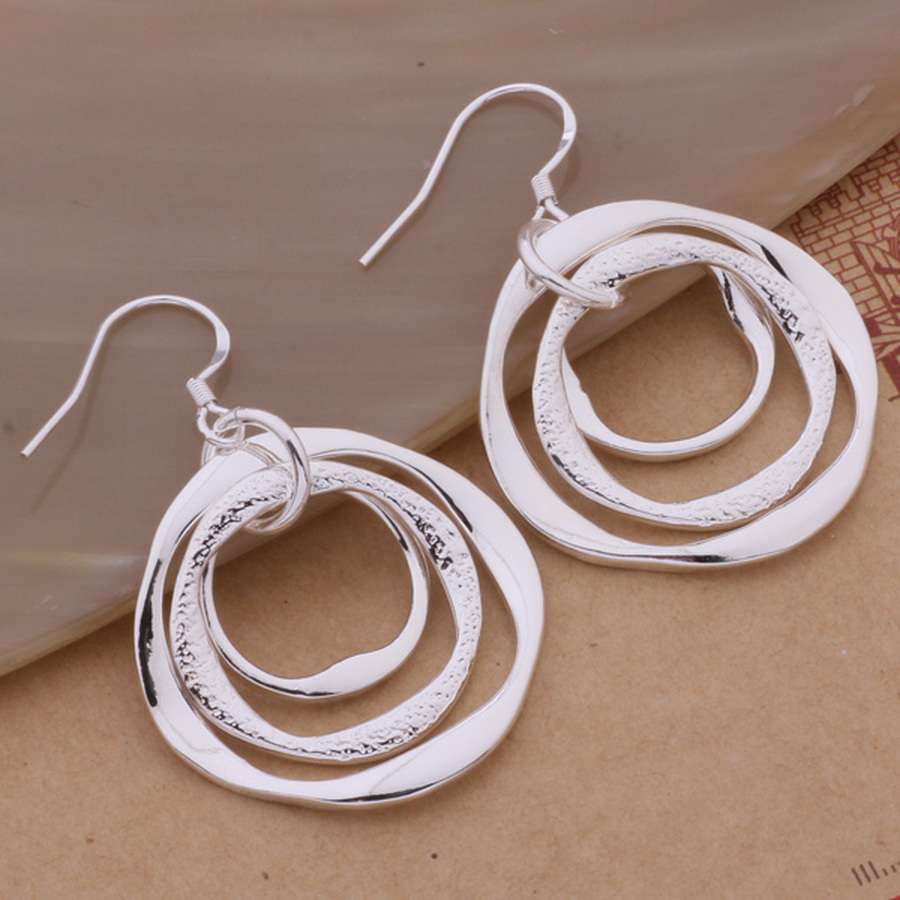 Production hot charm women lady Wedding gifts silver color charm Women circles earrings free shipping , jewelry LE008 3