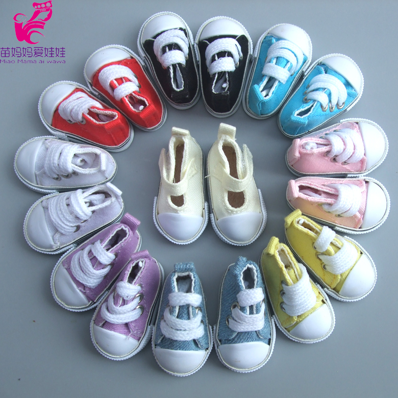 1 pair Assorted Color 5cm Canvas Shoes For BJD Doll Fashion Mini Toy Sneaker Bjd Doll Shoes for Russian Doll Accessories woolen monster house shoes slippers color assorted pair