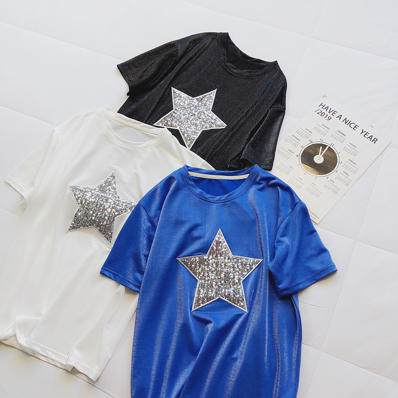 silk velvet women t-shirts 2019 summer new star sequined loose solid women top tees female student all match cool fashion tops