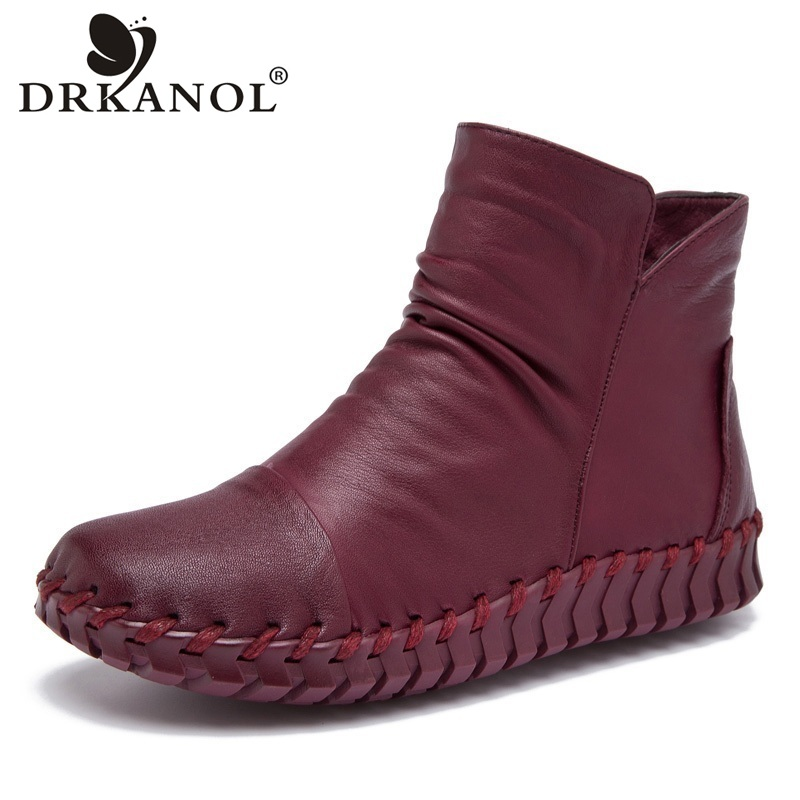 DRKANOL Genuine Leather Ankle Boots Shoes Handmade Flat Women Boots Autumn Winter Round Toe Casual Short Boots Women Size 35-41 mens autumn winter round toe martin boots black genuine leather ankle plush short boots for men casual flat lace up cotton shoes