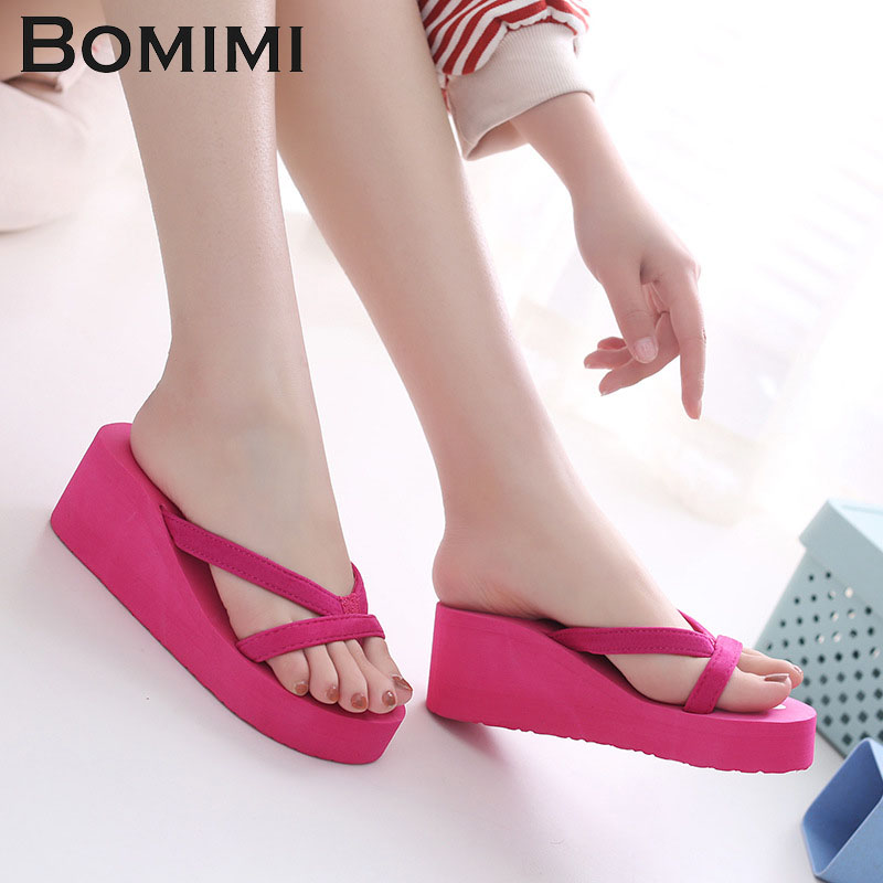 BOMIMI Women Slippers Beach Slippers Flip Flops Sandals EVA High Heel Flip Flops Slippers Wedge Platform Female Big Size big size 34 43 fashion womens shoes 7 5cm high heel slippers summer solid concise lady sandals square heels female flip flops