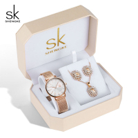 Shengke Rose Gold Watches Women Crystal Earrings Necklace Set Ladies Quartz Watch with Jewelry Set 2019 New Women Watches Set
