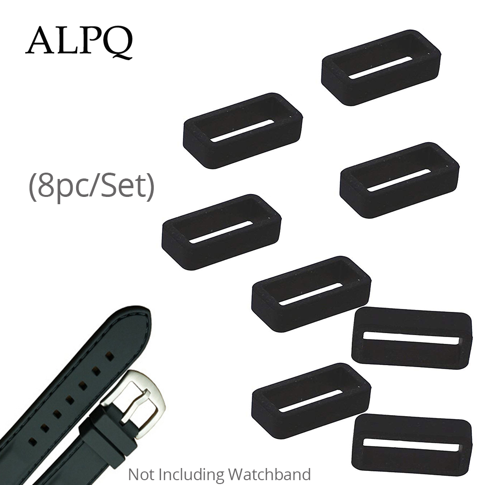 PVC Watch Strap Retaining Hoop Loop Black Retainer Buckle Holder 8PC/Set Wrist Watch Accessories 10/12/14/16/18/20/22/24/26/28mm