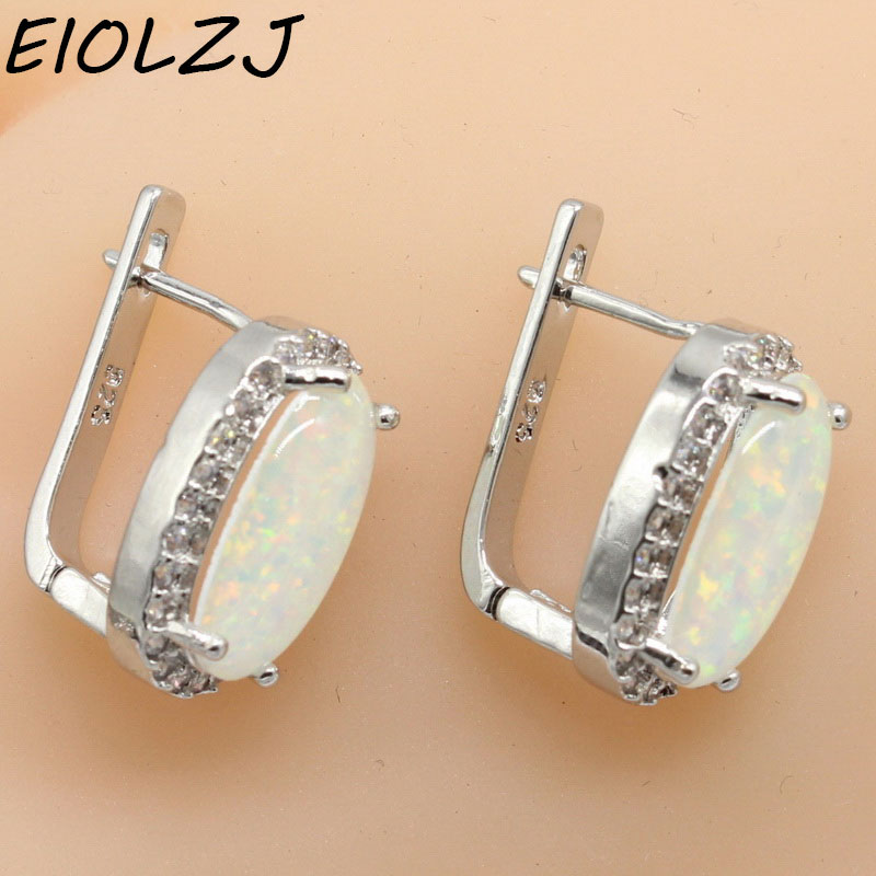 EIOLZJ White Oval Fire Opal Stone 925 Sterling Silver Clip Earrings For Women Bridal Fashion Jewelry Free Gift Box Three Colors