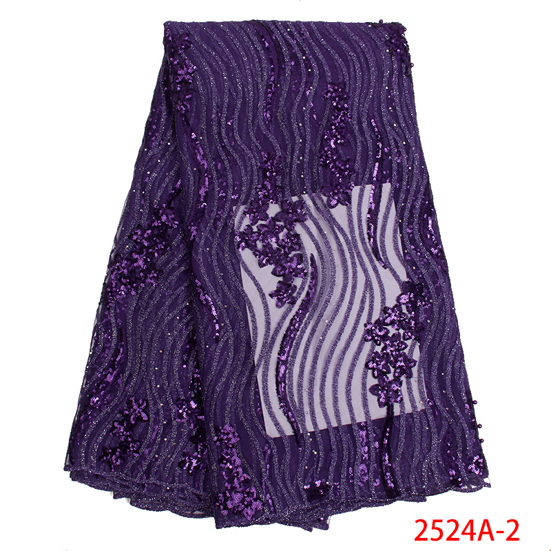Purple African French Net Lace Fabric High Quality Nigerian Lace Fabrics with Beads Sequins Lace Fabric