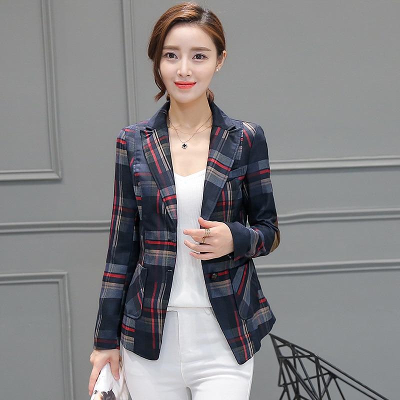 2018 spring new High-quality ladies lattice jacket ultra thin womens long sleeve suit jacket casual jacket parka