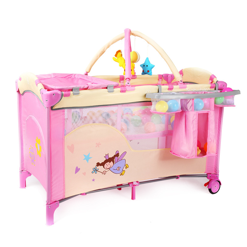 Multifunction Portable Pink Baby Toddler Girl Crib Foldable Baby Cribs With Toy Safe Baby Game Play Bed