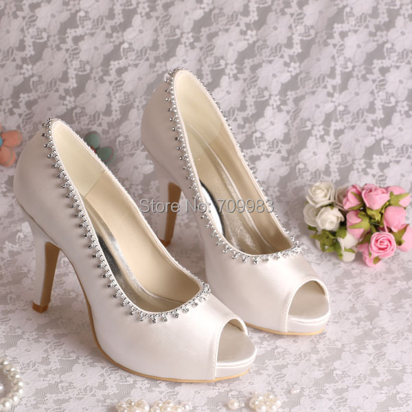 new concept 79d66 686fc US $47.0  Benutzerdefinierte Handmade Damen Designer Strass Ivory Hochzeit  Schuhe Größe 34 ~ 42 # in Benutzerdefinierte Handmade Damen Designer Strass  ...