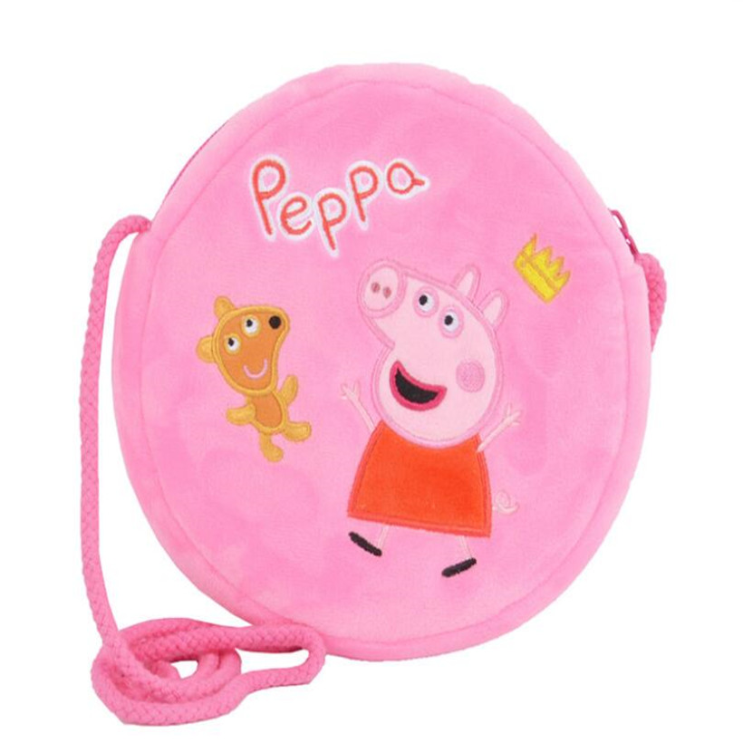 Original Peppa Pig George Round Pocket Purse Plush Toys Doll Kids Girls Kindergarten Bag Backpack Children Best Gifts