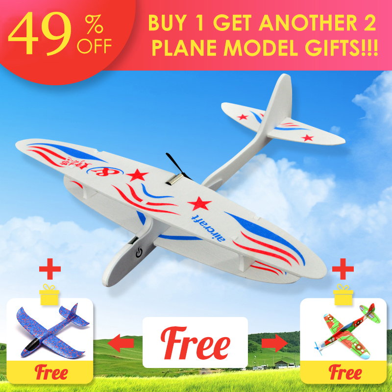 2018 DIY Biplane Glider Foam Powered Flying Plane Rechargeable Electric Aircraft Model Science Educational Toys For Children