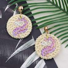 Natural Straw Rattan Earrings for Women Unicorn Woven Wicke Earring Wooden Round Earing Summer Jewelry Pendientes Mimbre