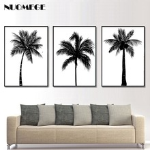 NUOMEGE Black White Coconut Tree Canvas Poster And Prints Minimalist Tropical Plant Wall Art Paintings Picture Living Room Decor