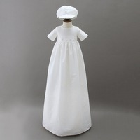 Long Baby Boy Dress With White Hat Short Sleeve Infant Baptism Birthday Dresses Bebe Girl Party