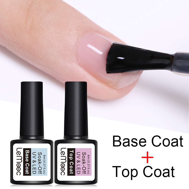 LEMOOC 8ml Top Base Coat Soak Off Nail Gel Foundation For UV LED  Gel Varnish No Wipe Transparent Nail Art Varnish