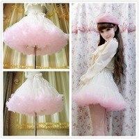 Princess sweet lolita skirts Soft yarn heavy petticoat voile mesh loli cos mini solid Ball Gown princess skirts ribbon bow CQ04