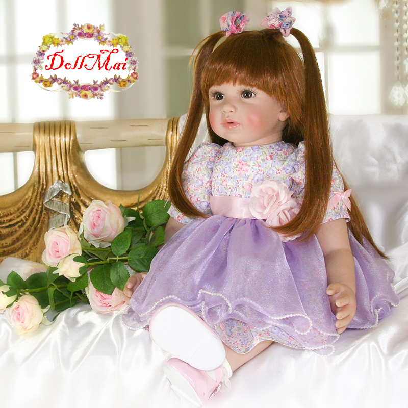 "Baby doll toys 24"" bebe reborn toddler silicone vinyl newborn baby dolls  for children gift adoras princess doll"