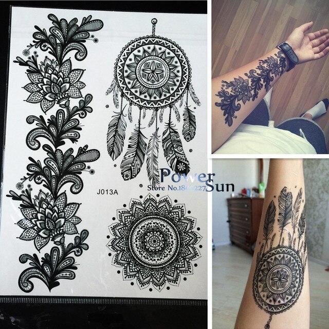 1 шт. Горячие Ловец снов большой индийский Защита от солнца цветок Henna Временные татуировки Черный Менди Перо Стиль Водонепроницаемый татуировки Стикеры pbj013a
