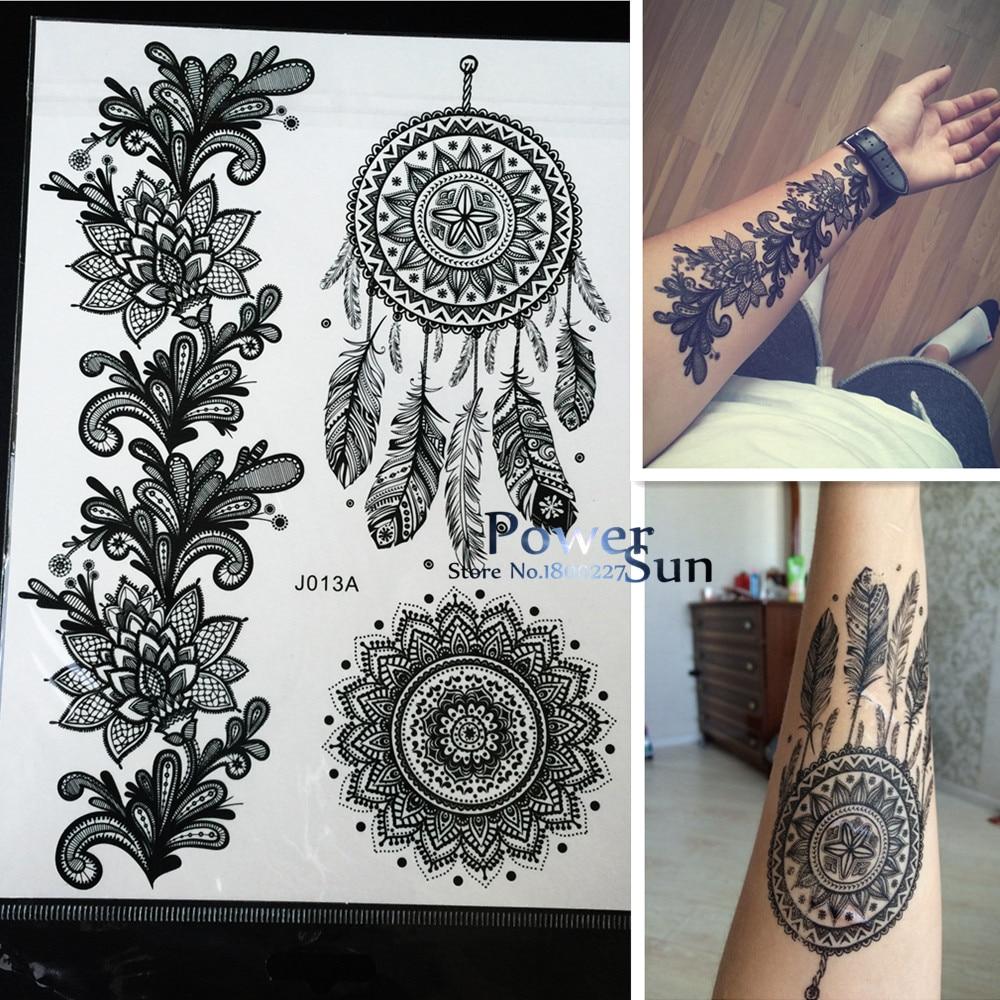 цена на 1PC Hot Dreamcatcher Large Indian Sun Flower Henna Temporary Tattoo Black Mehndi Feather Style Waterproof Tattoo Sticker PBJ013A