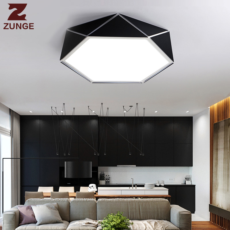ZUNGE ceiling lamp LED personality geometric creative bedroom lamp P281 simple modern led living room lamp study lamp led ceiling lamp simple modern fashion personality round living room dining room bedroom creative slim lamps led lamp
