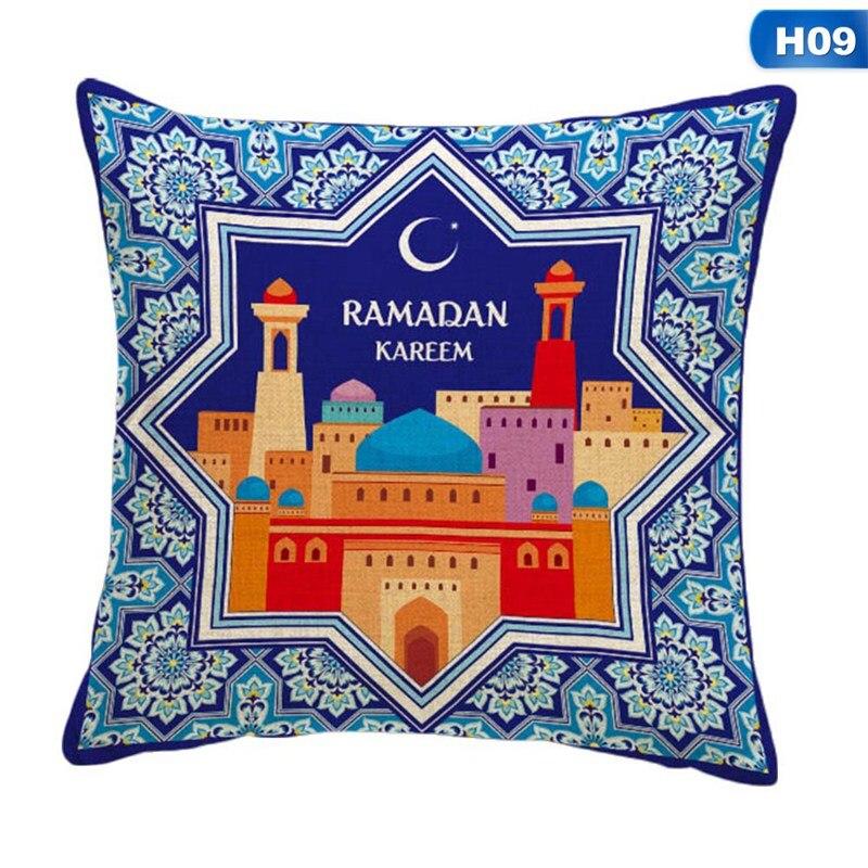 Islamic Eid Mubarak Decorations Cushion Cover For Home Sofa  Pillowcase Ramadan Muslim Moon Castle Mosque Decor Cushion Cover