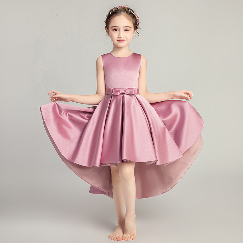 Sweet Sleeveless   Girl   Ball Gown   Dress   Bow   Flower     Girls     Dresses   Purple For Wedding O-neck Princess Kids Occasion Communion Gowns