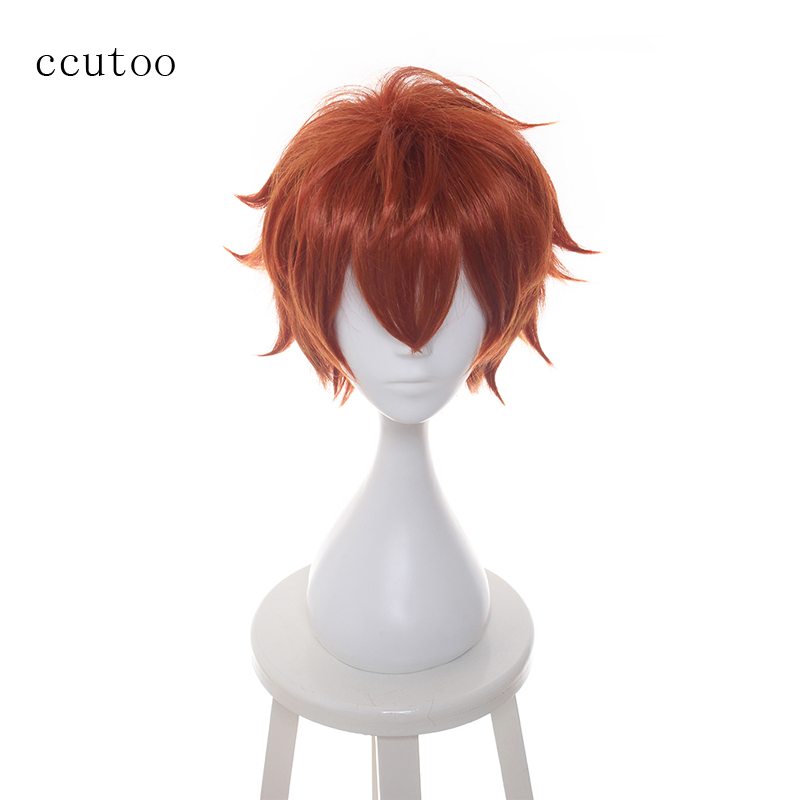 "ccutoo 12 ""Game Mystic Messenger 707 Mäns Orange Mix Short Shaggy Layered Fluffy Synthetic Party Hår Cosplay Paryk"