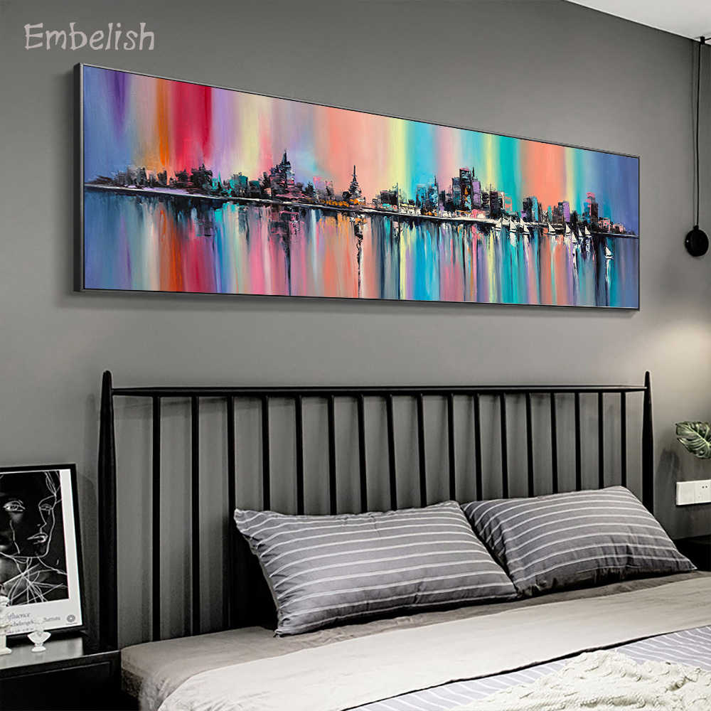Embelish 1 Pieces City's Skyline In Fantasy Rainbow Colors Landscape Pictures For Living Room Home Decor Canvas Bedroom Pictures