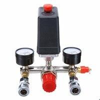 Adjustable Pressure Valve Switch Assembly 90 120PSI Air Compressor Pressure Control Switch Valve Manifold Regulator Gauges