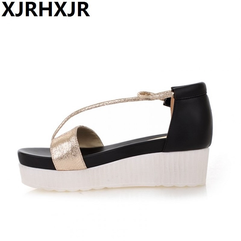 Women's Summer Wedges Sandals Flat Platform Gladiator Roma Flip-flop Sandals Platform Shoes Female Fashion Shoes Sliver Golden women sandals 2017 summer shoes woman wedges fashion gladiator platform female slides ladies casual shoes flat comfortable