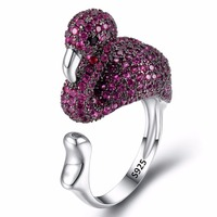 BELLA Fashion 925 Sterling Silver Luxury Fuchsia Flamingo Bird Statement Ring Cubic Zircon Animal Cuff Cocktail