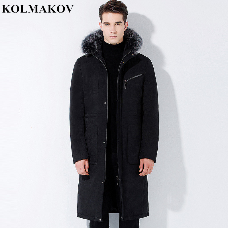 KOLMAKOV 2018 Men's New White 90% Duck   Down   hooded Jackets Mens Winter Thick Long   Down     Coats   for Hiking Top Quality Parkas Men