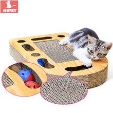 HIPET Cat Scratch Board Post For Kitten Toys Balls Corrugated Paper Multifunction Cats Scratching Mat Pad Pet Intelligence Toy футболка поло la redoute с короткими рукавами xs белый