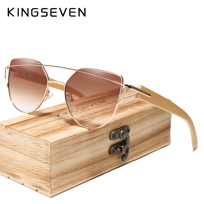 Image 2 - Original KINGSEVEN Brand Bamboo Cat Eye Sunglasses Polarized Metal Frame Wood Glasses Women Luxury Sun Glasses With Wood CaseMens Sunglasses   -