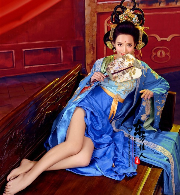 hui tv play legend of chinese empress wu meiniang blue tang costume