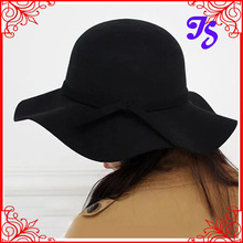 Free Shipping Women Vintage Retro Wool Felt Crushable Wide Brim Cloche Fedora Floppy Sun Beach Hat Goth Bowknot Fedora Cap