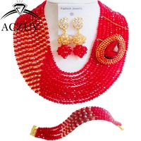 Brand ACZUV Nigerian Wedding African Beads Jewelry Set Crystal Red And Gold Indian Bridal Necklace AN092