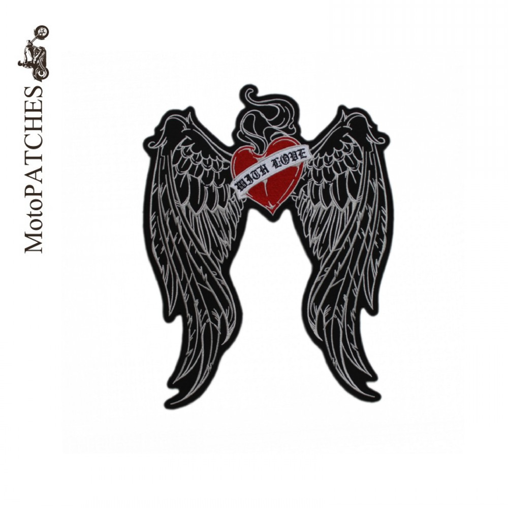 Diy Handmade Embroidered Patch: Harley Wings Hearts With Love Excellent Embroidered Custom