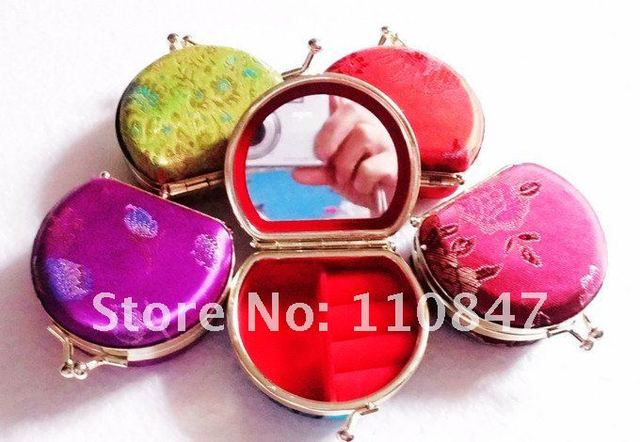 Free shipping! Lots 10 pcs homemade Embroidery Brocade Mirror Jewelry box ring case Makeup mirro