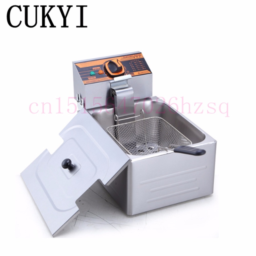 CUKYI hot sale electric deep fryer commercial electric fryer French fries Fried chicken Deep frying furnace stainless steel double tank electric fryer machine 2 5kw 16l electric commercial deep air fryer french fries fried chicken fryer