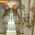 Custom vorhänge Chenille Europäischen Jacquard Luxus Villa Deluxe Wohnzimmer beige tuch blackout vorhang tüll volant drapieren B342