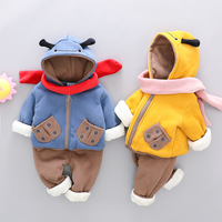 Newborn Baby Winter Suits for Girl Boys Plus Velvet Cute Ladybug Pattern 2pcs Warm Winter Hooded Jacket Pants Kids Clothing Sets
